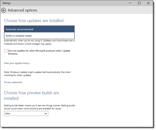 Advanced Windows Update options