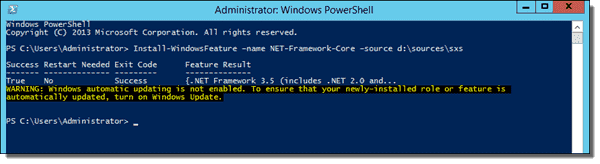 Install .NET 3.5 with PowerShell