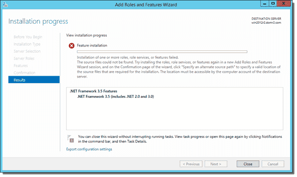 Message indicating .NET Framework 3.5 installation failed on Windows Server 2012 R2