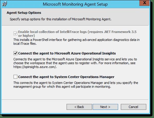 Microsoft Monitoring Agent installation