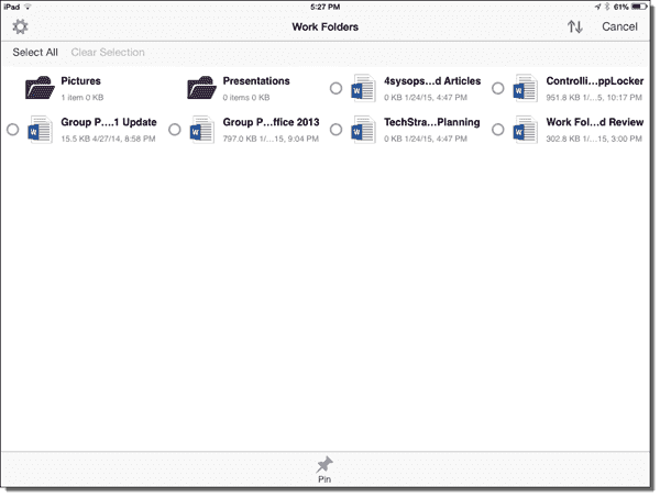 Selecting files to be pinned for offline use in the Work Folders iPad app
