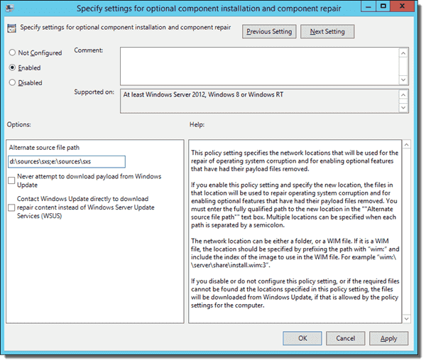 Specify .NET 3.5 alternate installation source with Group Policy