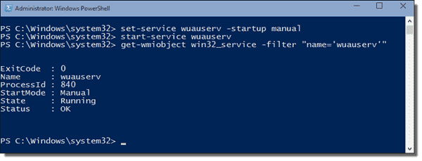 Start Windows Update service with PowerShell