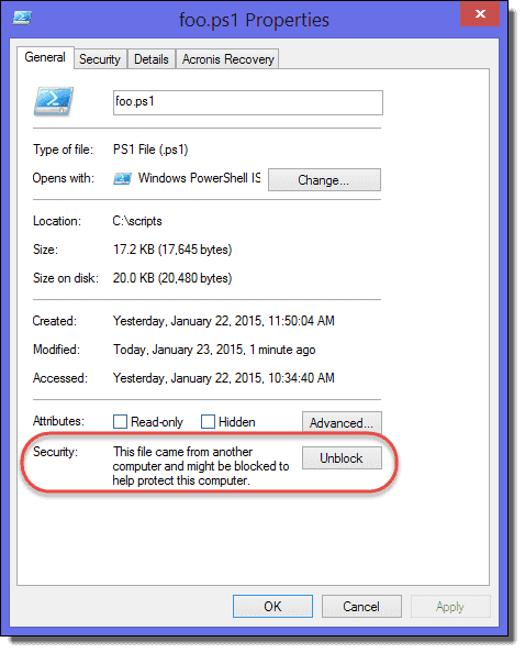 Unblock in File Explorer