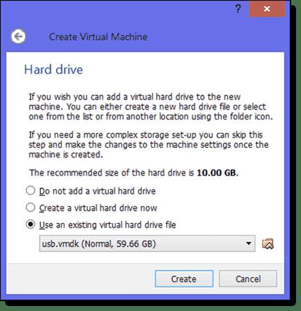 Use an existing virtual hard drive
