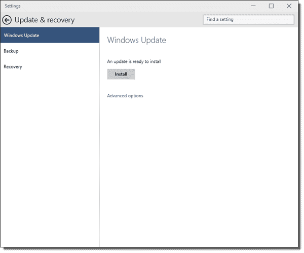 Windows Update in Windows 10 build 9926