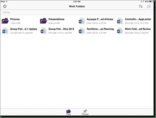 Work Folders iPad app list of files and folders