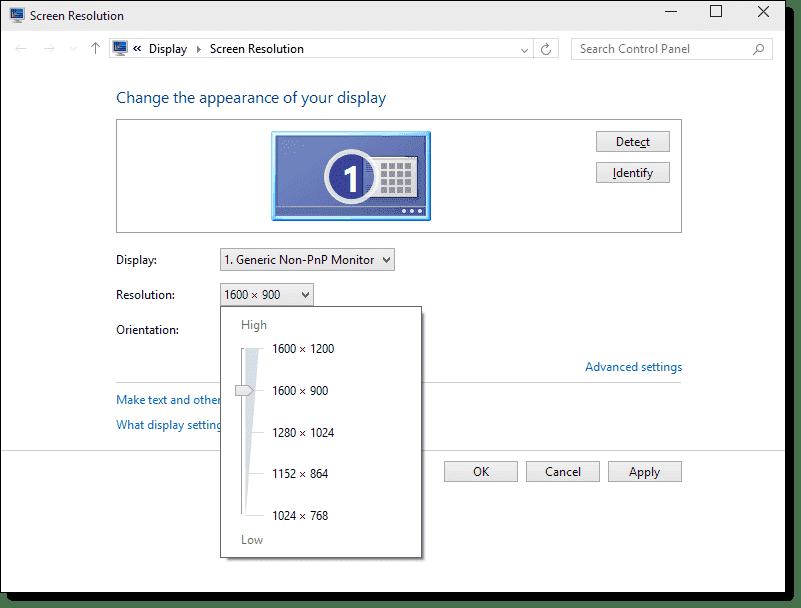 machine screen resolution