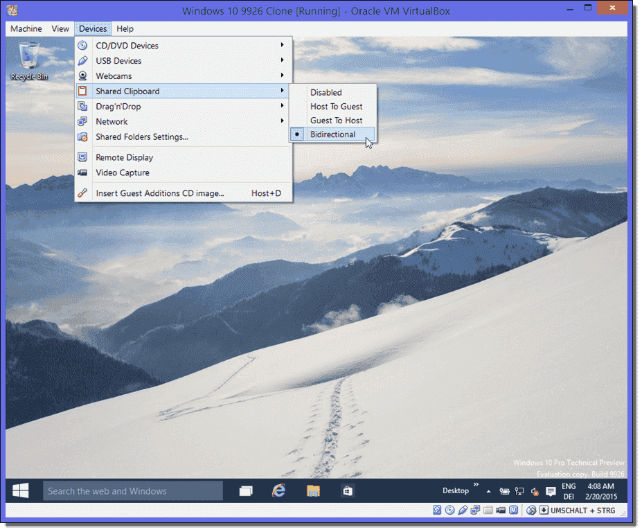 Install VirtualBox Guest Additions on Windows 10 build 9926