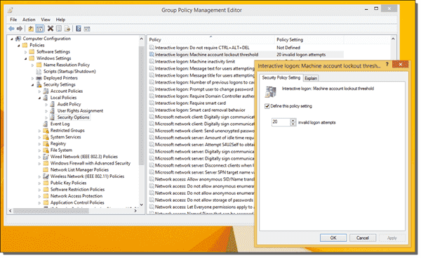 Machine account lockout threshold policy in the Group Policy Management Console