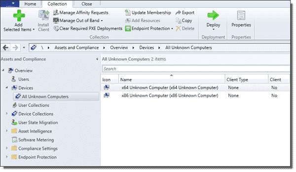 Members of the All Unknown Computers collection in SCCM 2012