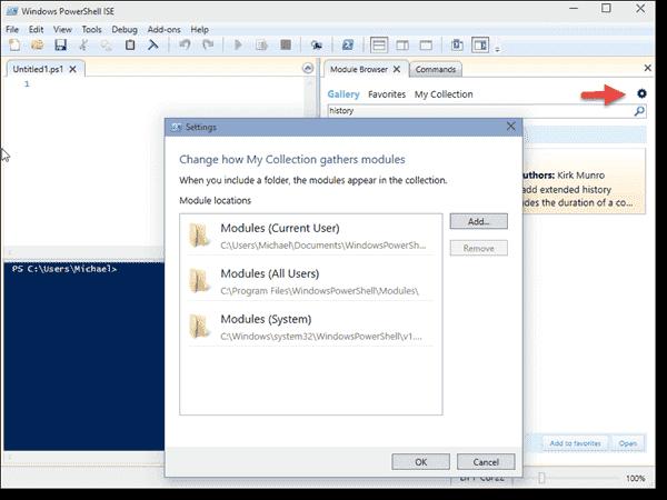 Module Browser settings