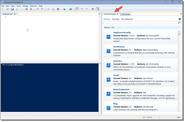 PowerShell ISE Module Browser