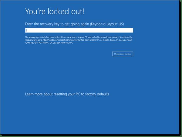 Windows 8.1 BitLocker You're locked out screen