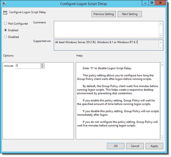 Configure Logon Script Delay policy