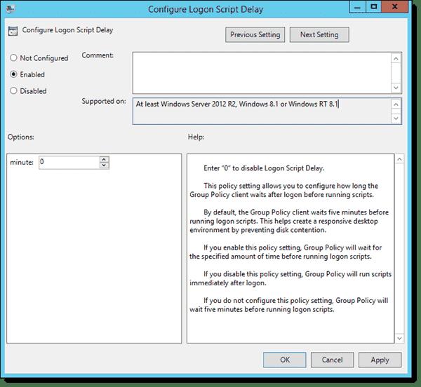 Configure Logon Script Delay policy