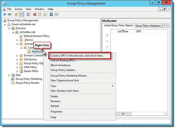 Create a new GPO in the Group Policy Management Console