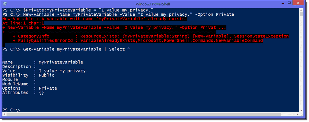 PowerShell variable properties: Description, Visibility