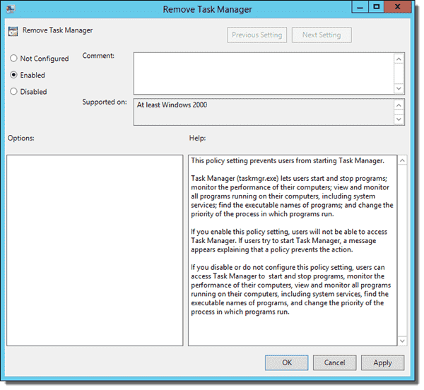 Disable the Task Manager with the Remove Task Manager policy