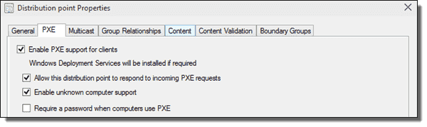 Enabling PXE support on a distribution point.
