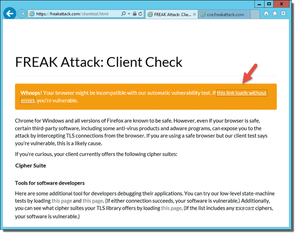 FREAK attack check with incompatible browser
