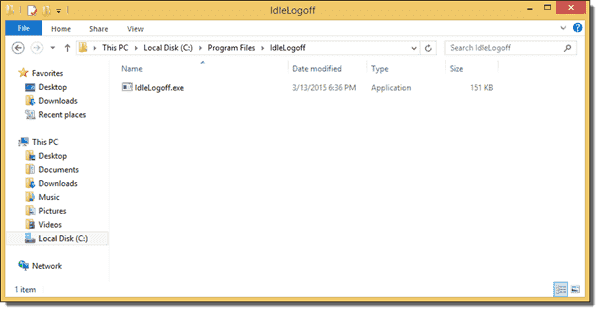 IdleLogoff.exe copied to a Windows 8.1 client