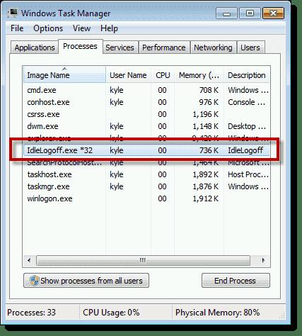 IdleLogoff.exe running on Windows 7