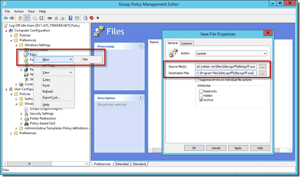 New File Properties to copy IdleLogoff.exe to computers