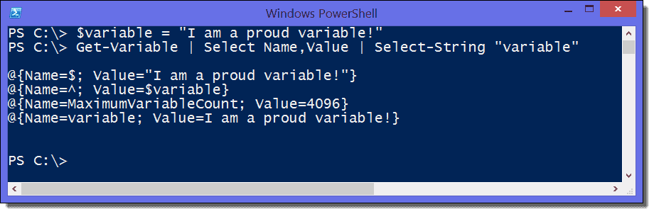 Display and search all variables of a PowerShell script with