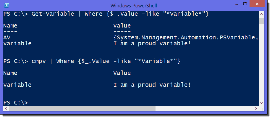 Display and search all variables of a PowerShell script with Get