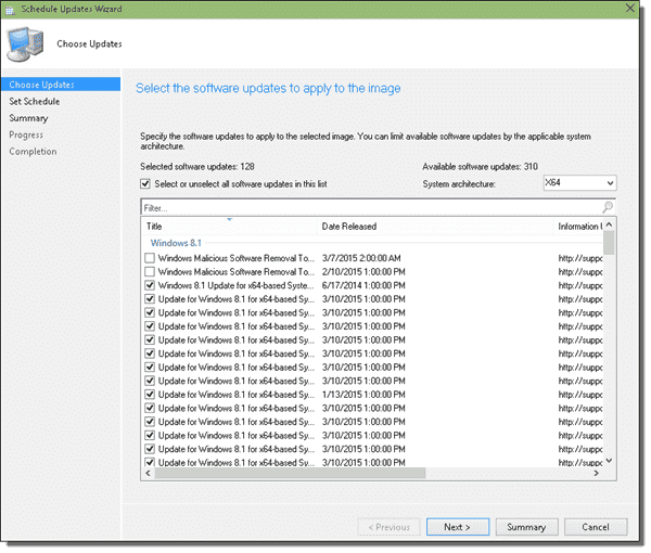 These software updates will be applied with SCCM Schedule Updates