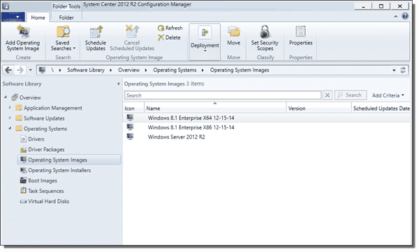 This example shows three operating system images in SCCM 2012 R2