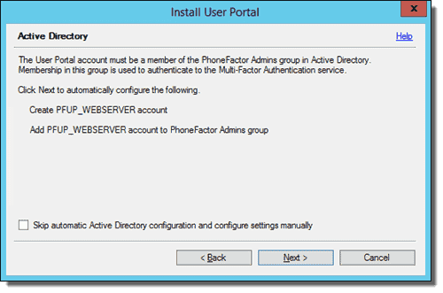 Active Directory configuration screen in Install User Portal wizard