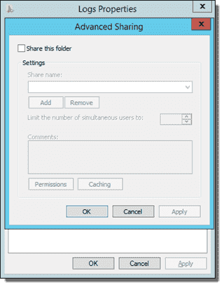 Advanced Sharing settings for the Logs folder