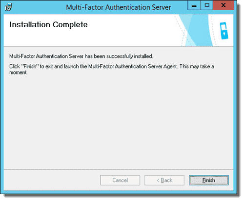 Azure Multi-Factor Authentication Server - Installation complete