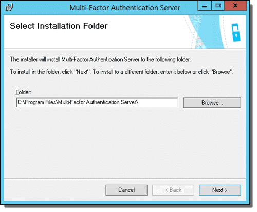 Azure Multi-Factor Authentication Server Installer -Select Installation Folder