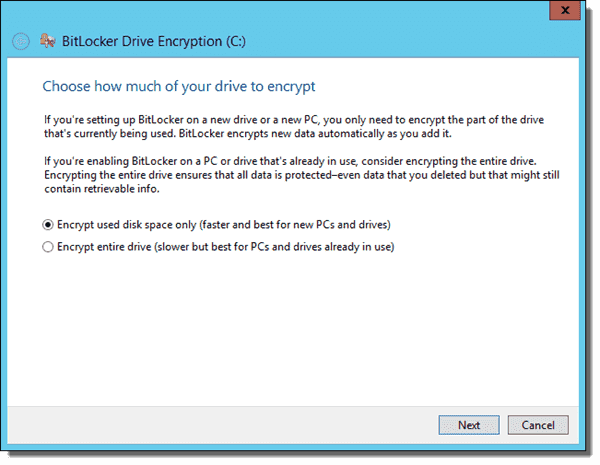 Choose how much of your drive to encrypt - Used space or entire drive - Operating system drive