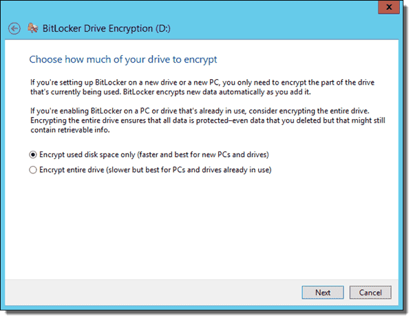 Choose how much of your drive to encrypt - used space or entire drive - fixed data drive