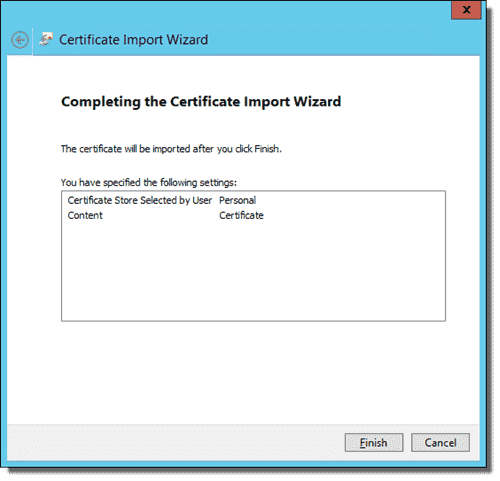 Completing the Certificate Import Wizard