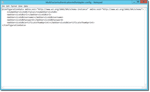 Contents of the MultiFactorAuthenticationAdfsAdapter.config file