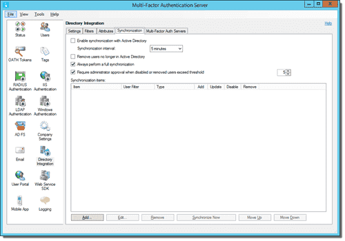 Directory Integration, Synchronization tab