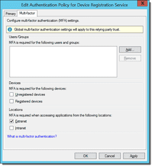 Edit Authentication Policy for Device Registration Service window