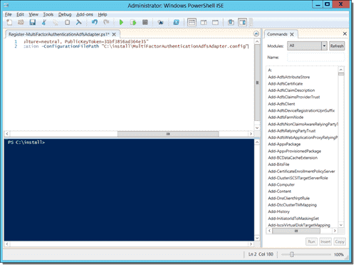 Edited Register-MultiFactorAuthenticationAdfsAdapter.ps1 in PowerShell ISE