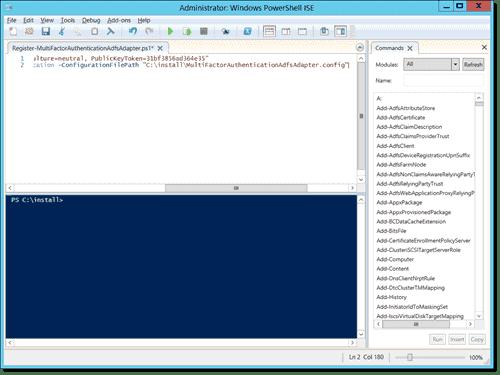 Edited Register-MultiFactorAuthenticationAdfsAdapter.ps1 in PowerShell ISE