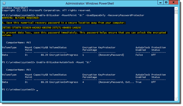 Enabling BitLocker with the Enable-BitLocker cmdlet on a fixed data drive