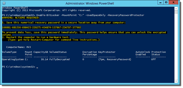 Enabling BitLocker with the Enable-BitLocker cmdlet on an operating system drive