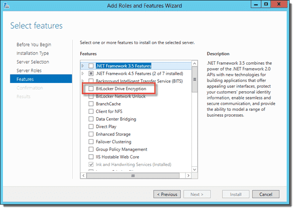 Install BitLocker Drive Encryption in Add Roles and Features Wizard