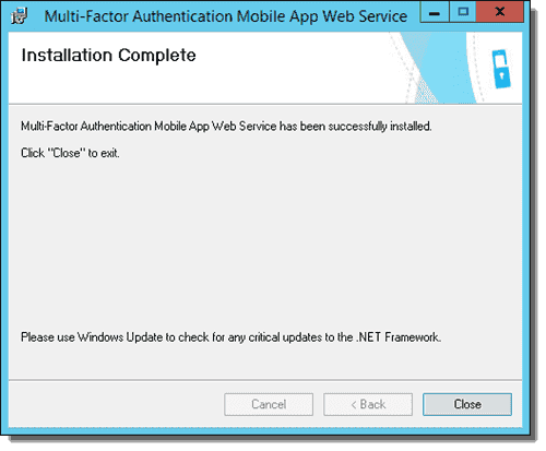 Installation Complete screen in the Mobile App Web Service wizard