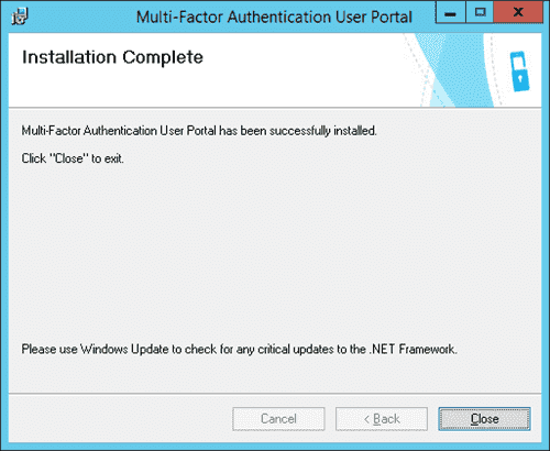 Installation Complete screen in the Multi-Factor Authentication User Portal wizard