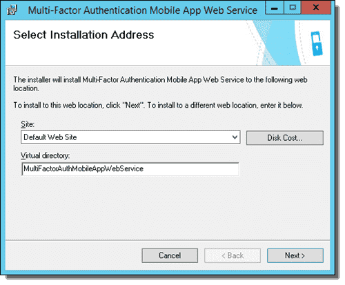 Select Installation Address screen in the Mobile App Web Service wizard